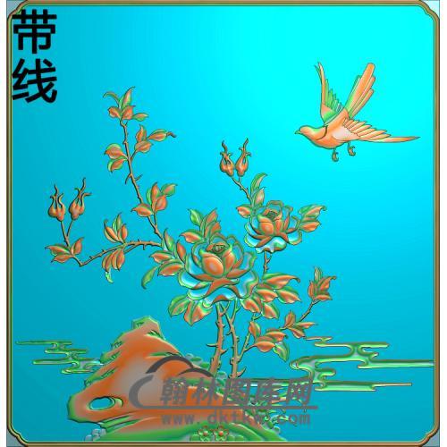四季平安 月季花 下精雕图(ZHN-211)