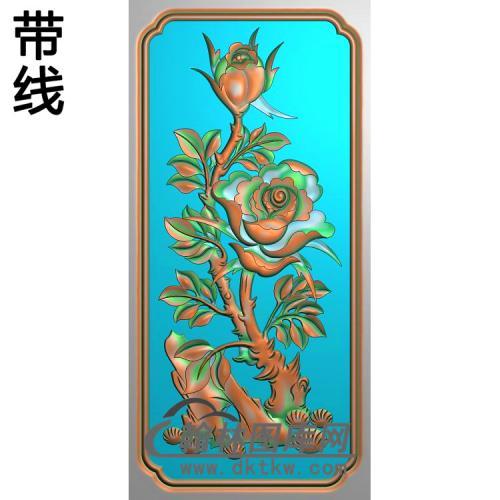 牡丹跟月季精雕图(YG-002)