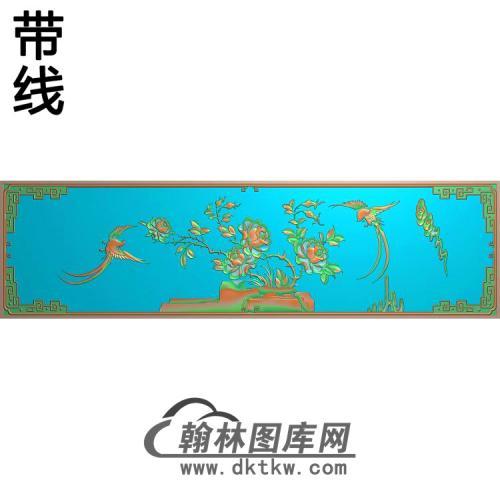 大衣柜门板月季鸟1254×337精雕图(YG-004)