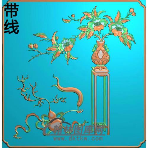 柜子月季花-2精雕图(YG-005)