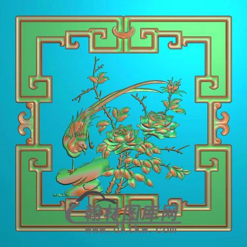 花鸟顶箱柜月季花上门板精雕图(YG-006)