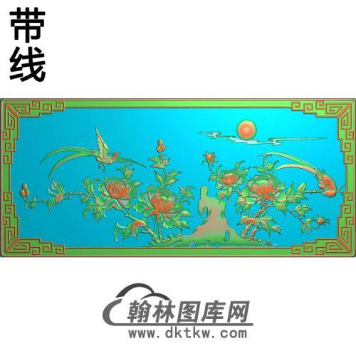 花鸟写字台月季鸟挡板 (2)精雕图(YG-007)