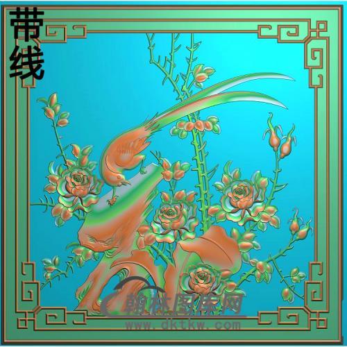 清风沙发山水咖啡台月季精雕图(YG-010)