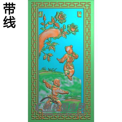 玩耍月季童子精雕图(YG-013)