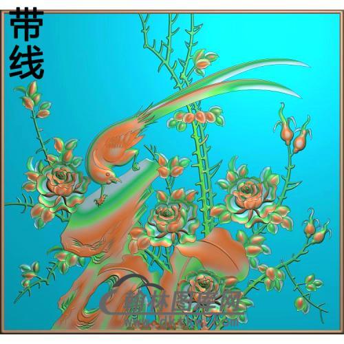 小门月季鸟精雕图(YG-014)