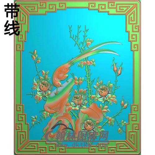 月季鸟门板精雕图(YG-016)