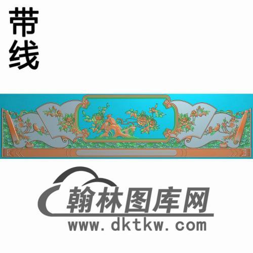 CTBB-451-罗汉床九龙背板精雕图(CTBB-013)