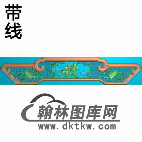 床头柜屏板一对精雕图(CTBB-035)