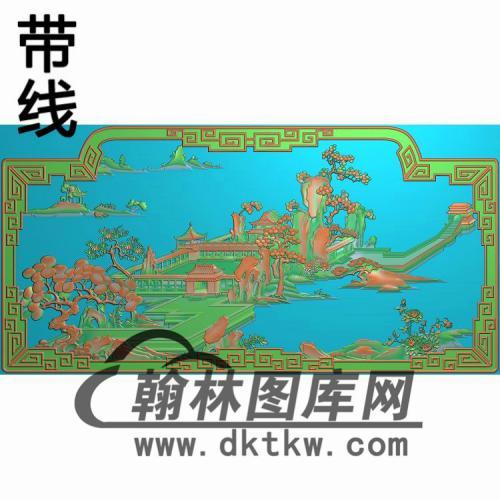 山水背板中911gai精雕图(CTBB-039)