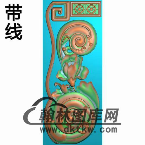 扶手立柱狮横精雕图(FS-075)