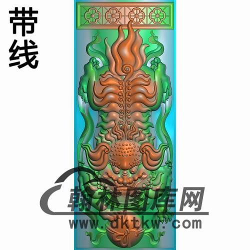 扶手立柱狮精雕图(FS-074)