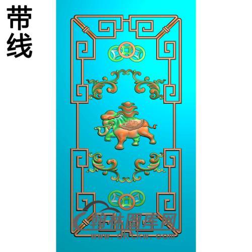大象背板精雕图(SFBB-014)