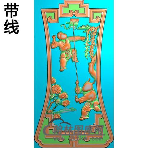沙发人物靠背(风筝)新精雕图(SFBB-017)