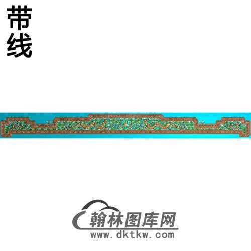 罗汉床草龙靠头精雕图(YN-065)
