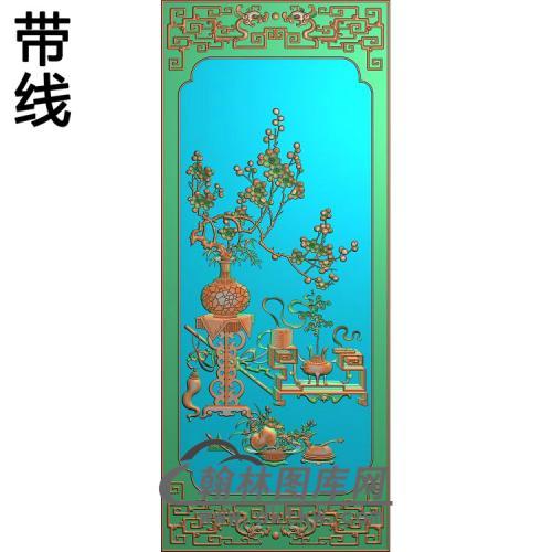 CTKS-006-四季平安顶箱柜大门板梅花精雕图(MHP-001)
