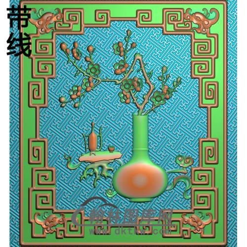 长沙发侧板梅花精雕图(MHP-032)