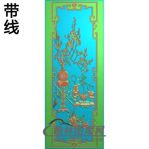 顶大门板梅花精雕图342-1080(MHP-020)