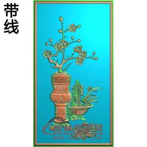 缘圆 竖梅花3精雕图(MHP-031)