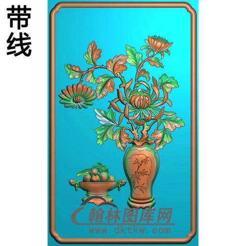 JH-3050-菊花花瓶背板a精雕图(JHP-014)