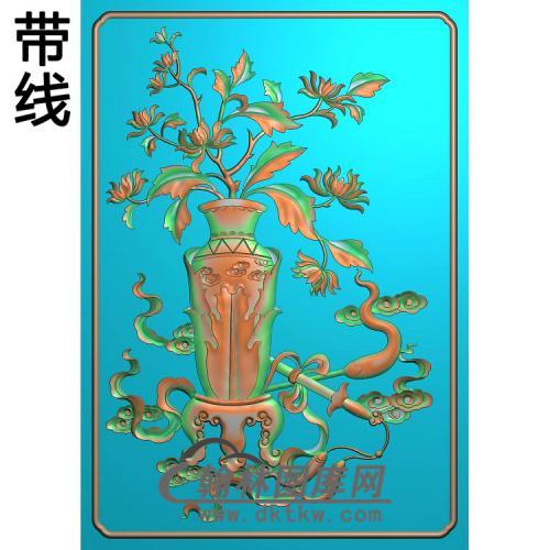 花瓶菊花2精雕图(JHP-025)