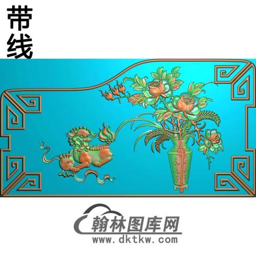 CTBB-014蝙蝠床头柜屏板狮子1.8精雕图(MDP-005)