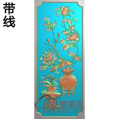 HN-225-牡丹兰花瓶精雕图(MDP-009)
