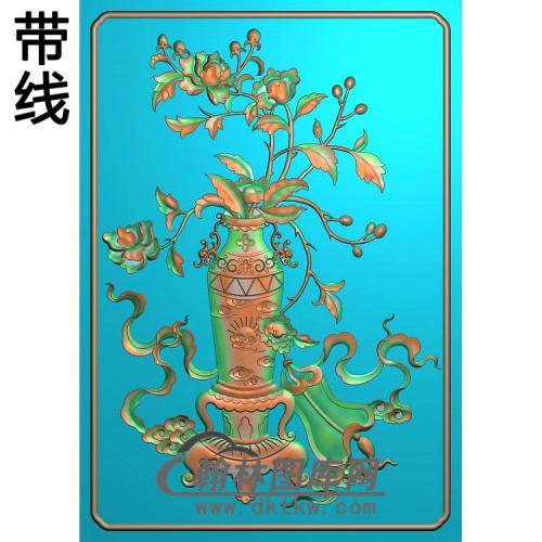 HP-001-花瓶牡丹精雕图(MDP-012)