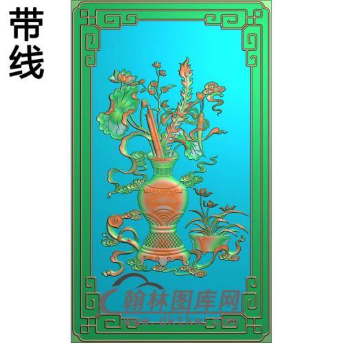 上门花瓶荷花精雕图(HHP-013)