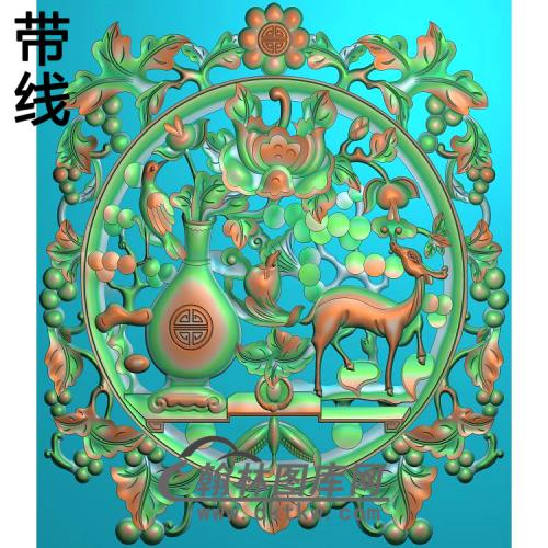 HN-700工作椅花瓶鹿背板红明320-370精雕图(BGP-014)