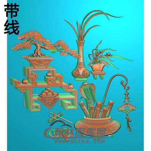 HP-2212松树博古花瓶厉精雕图(BGP-021)