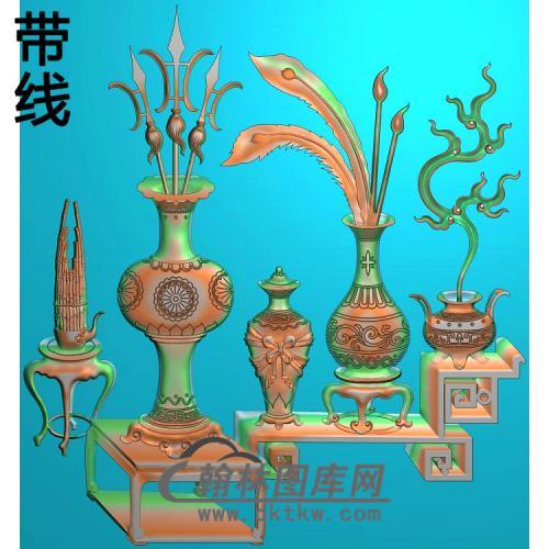 HP-2215博古花瓶精雕图372x421(BGP-023)