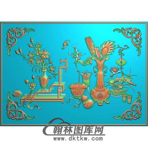 博古草破沙发 中背板精雕图(BGP-039)