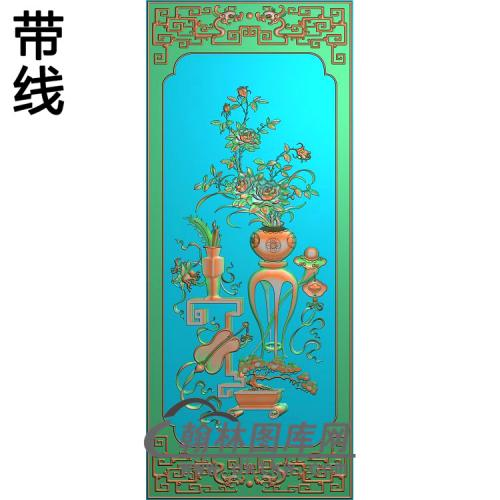 CTKS-008-四季平安顶箱柜大门板月季精雕图(YJP-001)