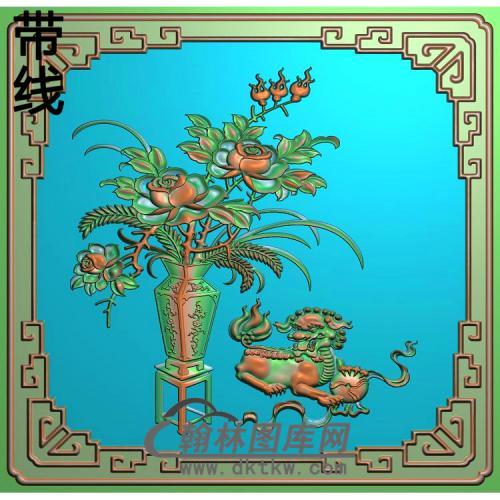 QTZW-00001-狮子月季上精雕图340x330(510)x7.5mm(YJP-004)