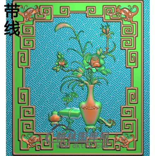 长沙发侧板月季精雕图(YJP-024)