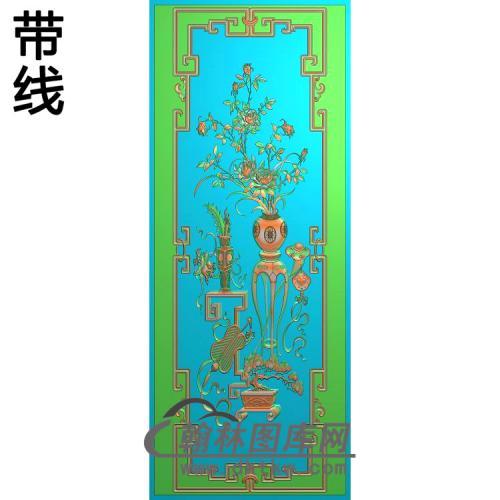 顶大门板月季精雕图342-1080(YJP-011)
