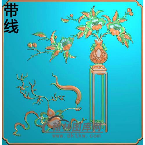 柜子月季花精雕图(YJP-014)
