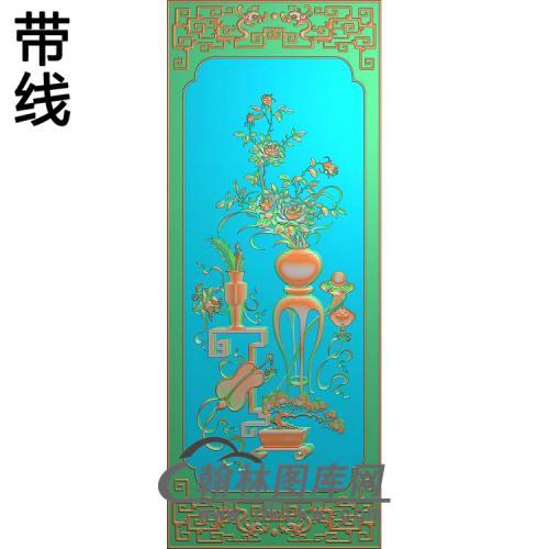 四季平安顶箱柜大门板月季精雕图(YJP-018)