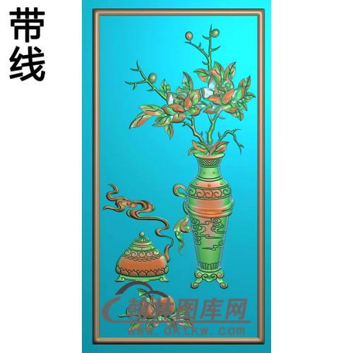 缘圆花板月季精雕图(YJP-021)