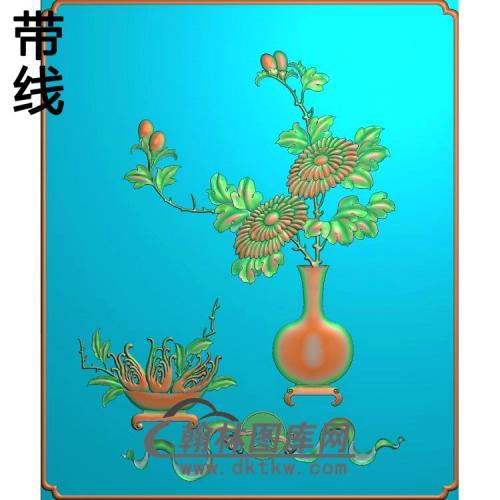 HP-1020-菊花瓶精雕图(QTP-057)