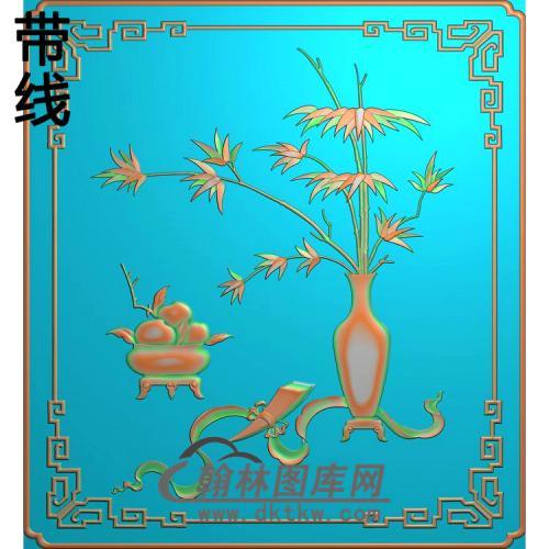 HP-1021-竹子瓶精雕图(QTP-058)