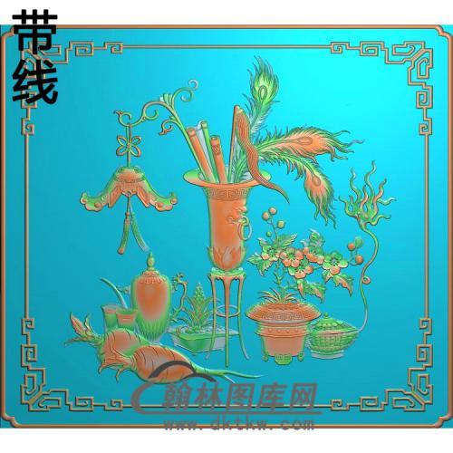 HP-1027-仿古博古柜春意萝卜精雕图(QTP-063)