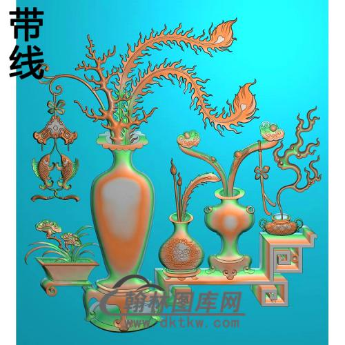 HP-2213双鱼博古花瓶372x421精雕图(QTP-070)