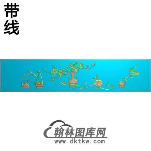 四季花瓶顶箱柜精雕图(QTP-071)