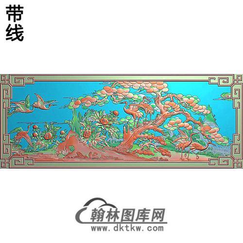 SH-267-松鹤牡丹带边框精雕图(SH-308)