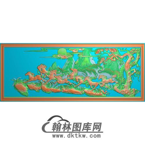 八骏奔腾图无线精雕图(JM-040)