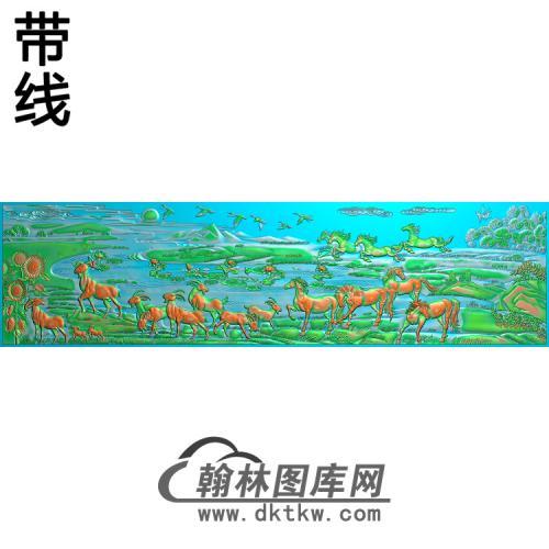 山水动物 马与羊精雕图(JM-059)