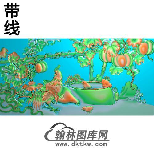90瓜棚佳色精雕图(J-001)