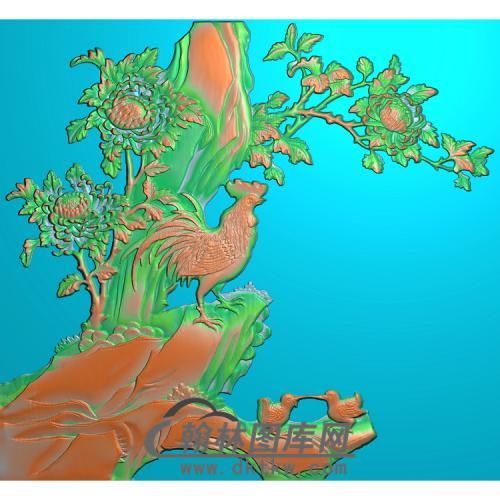 花鸟顶箱柜小板(3)无线精雕图(J-014)