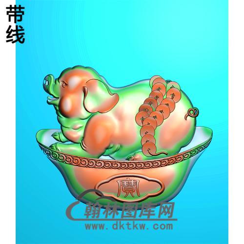 DW-042-动物系列小猪精雕图(Z-002)